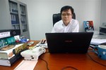 Le Quoc Quan, one of Vietnam's better-known dissidents and a leading blogger, works at his office in Hanoi, Vietnam.